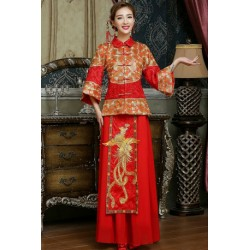 2017 Chinese Style Phoenix Embroidery Cheongsam Wedding Dress