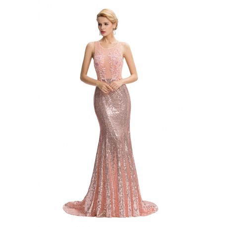 Elegant Floor-Length Backless Sequined Evening Dress