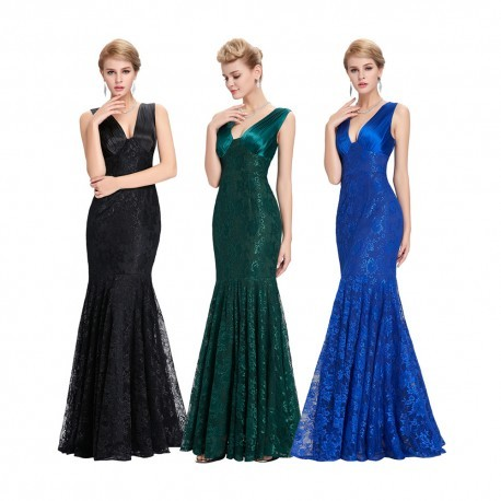 Lace V-Neck Mermaid Floor Length Evening Gown (3 Colors)