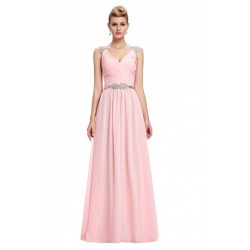 Sequined V-Neck Chiffon Pink Evening Gown