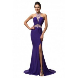 Sequined Beading Halter Mermaid Purple Evening Gown