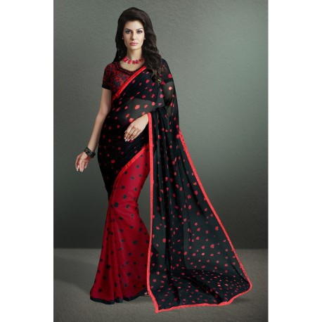 Beautiful Black-Red Color Printed Party Wear Georgette Saree