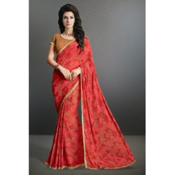 Beautiful Red Color Printed Party Wear Georgette Saree