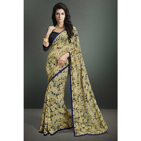 Floral Beige Color Party Wear Printed Georgette Saree