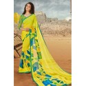 Yellow Georgette Designer Saree With Classy Print