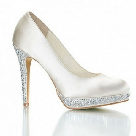 Vivienne Ivory White Satin Swarovski Rhinestone Wedding Shoes