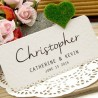 DIY Personalized Love in the Garden White Wedding Place Cards (Single Heart)