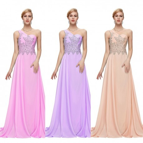 Chiffon Embellished One Shoulder Evening Gown (7 Colors)