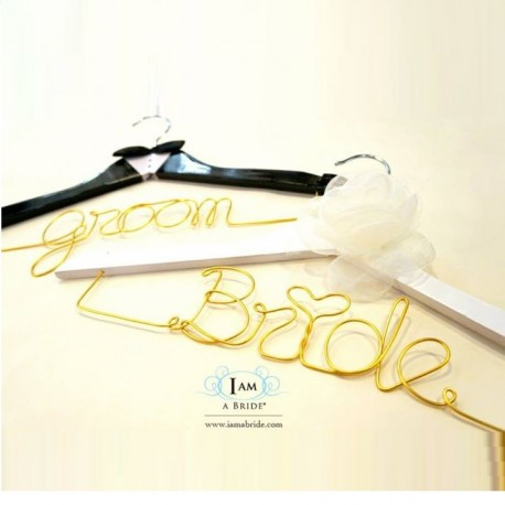 Groom and Bride Wedding Hanger