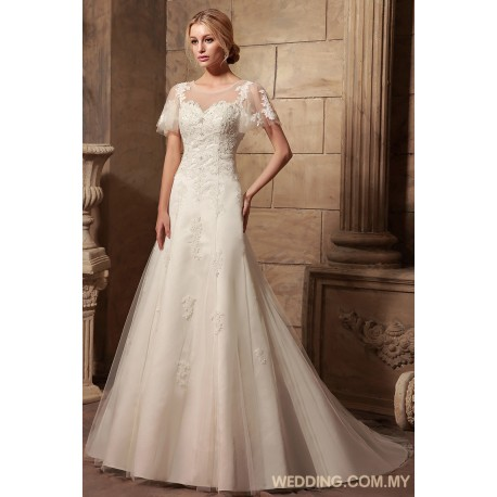 Modest Tulle Bridal Gown With Cap Sleeves
