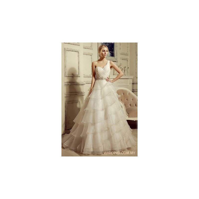 One Shoulder Organza Wedding Dress With Beading Belt