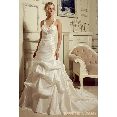 Halter Taffeta Bridal Gown With Bubbles On Skirt