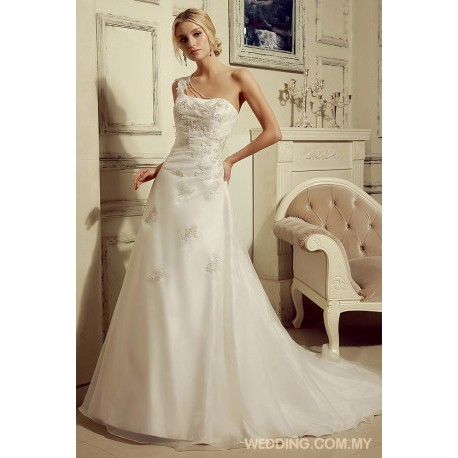 One Shoulder Organza Wedding Gown With Appliques