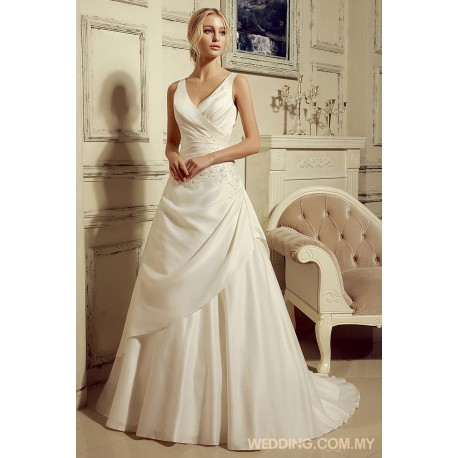 V Neck Satin Wedding Dress With Ruching On Bodice