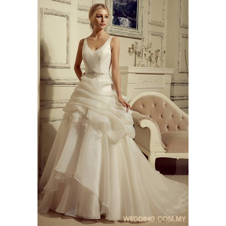 V-neck Organza Wedding Dress With Beaded Belt And Flowers on Skirt