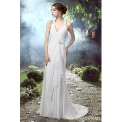 Halter Ruched Chiffon Wedding Dress With Ruffles