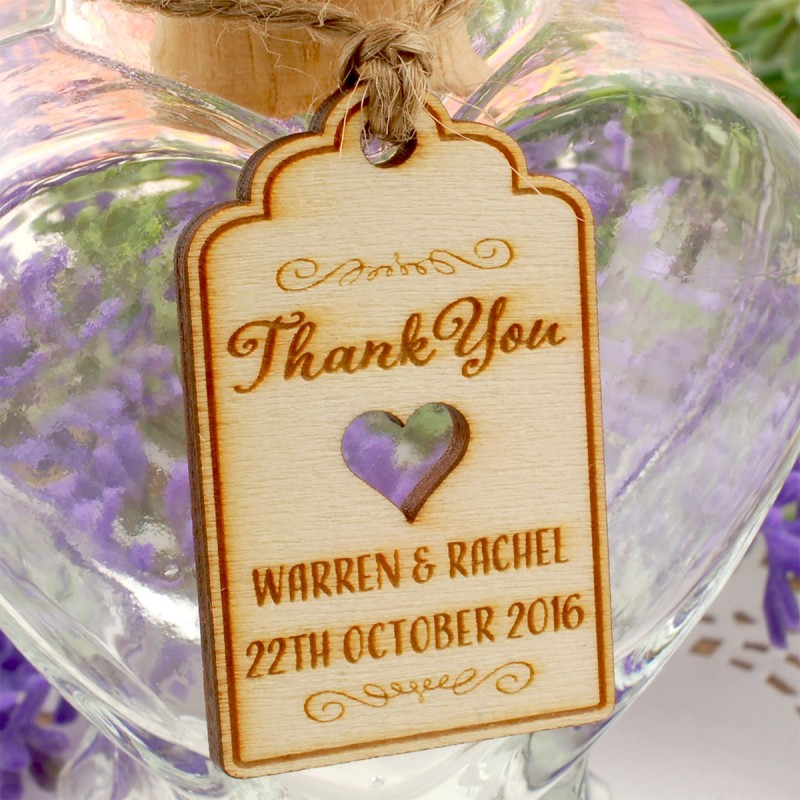 Personalized Natural Wooden Engraved Wedding Favor Gift Tags With Twine