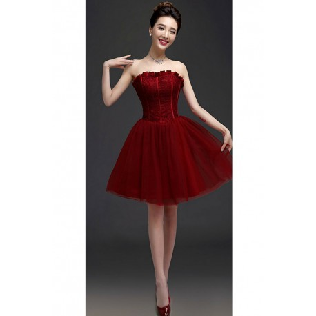 2016 New Wine Red Corset Bridesmaid Dress