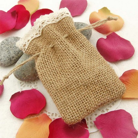 Hessian Burlap Drawstring Bag with Lace Trim ( 2 Designs )
