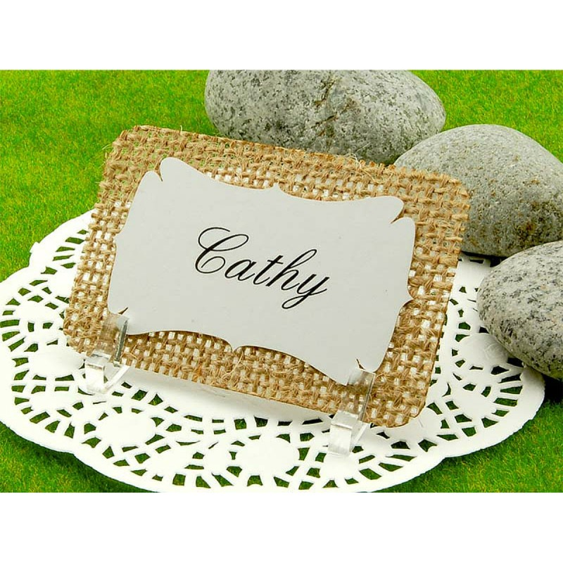 Personalized burlap place cards with acrylic stand gifts for Personalized wedding place cards