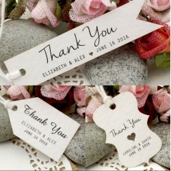 Personalized White Wedding Favor / Thank You / Gift Tags (Set B - 4 Designs)