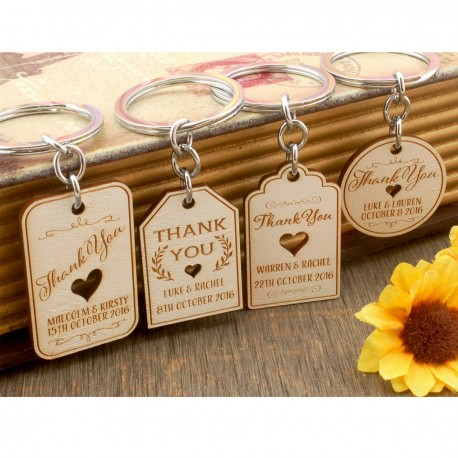 Personalized Engraved White Wooden Wedding Favor Key Chain (4 Designs)