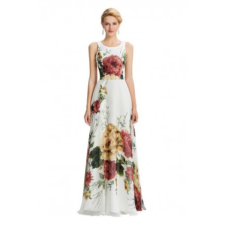 Spring Floral Sleeveless Chiffon Floor Length Evening Dress