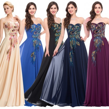 Glam Embroidered Appliques Chiffon Peacock Evening Dress (5 Colors)