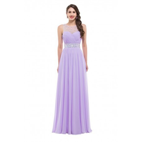 Embellished Backless Chiffon Floor Length Evening Dress (2 Colors)
