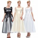 Embroidered Floral Lace Mother of the Bride / Groom Evening Dress (3 Colors)