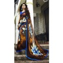 Lotus Print Georgette Silk Saree - Gold & Blue