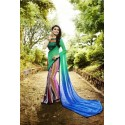 Multicolored Printed Georgette Silk Saree