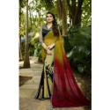 Glam Design Print Georgette Silk Saree - Yellow & Red