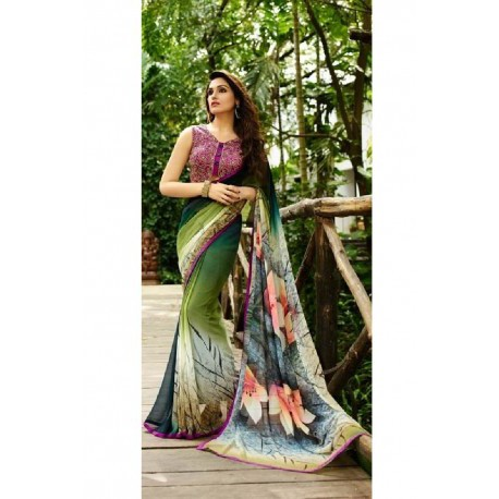 Floral Print Georgette Silk Saree - Green & Pink