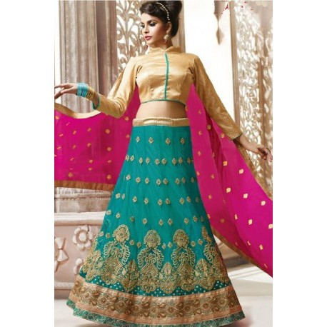 Green Designer Party Wear Stylish Lehenga Choli