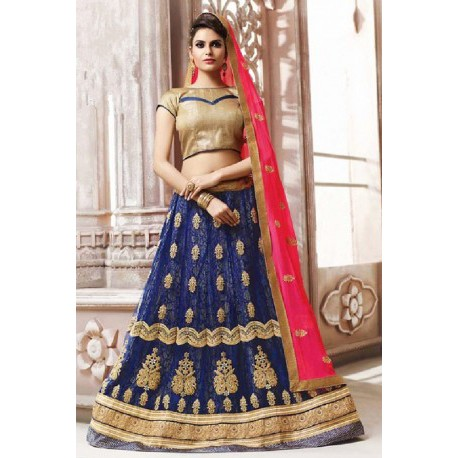 738046d2ec Royal Blue Net Circular Style Designer Lehenga Choli | Wedding Saree