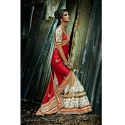 Beige & Red Jacquard Designer Bridal Saree