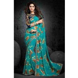 Alluring Turquoise Party Wear Bemberg Georgette Printed Saree