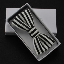 Groom's Monotone Stripes PU Leather Bow Tie