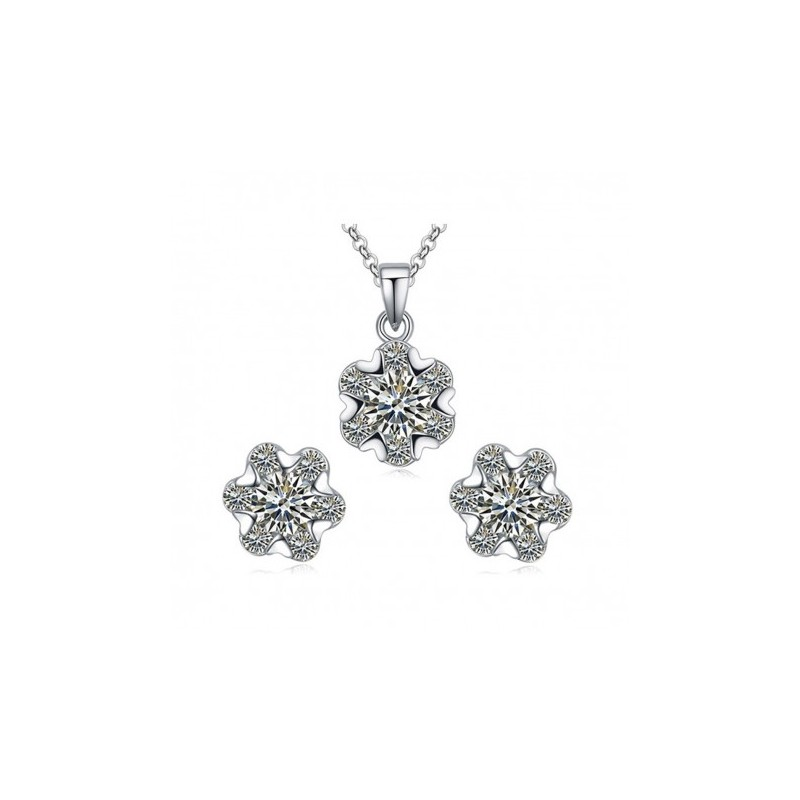 Cubic Zirconia Jewelry Sets : Snowflake cubic zirconia jewelry set fashion