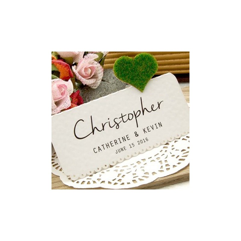 Diy personalized love in the garden white wedding place for Personalized wedding place cards