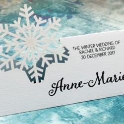 Personalized Snowflake Winter Wedding Place Card