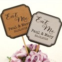 "DIY Personalized Double Sided Kraft / White Wedding Cupcake Toppers ""Eat Me"""