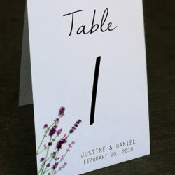 Personalized White Linen Lavender Garden Table Number (No. 1-20)