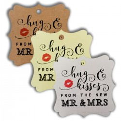 Elegant Square Hugs and Kisses Gift Tags (3 Colors)