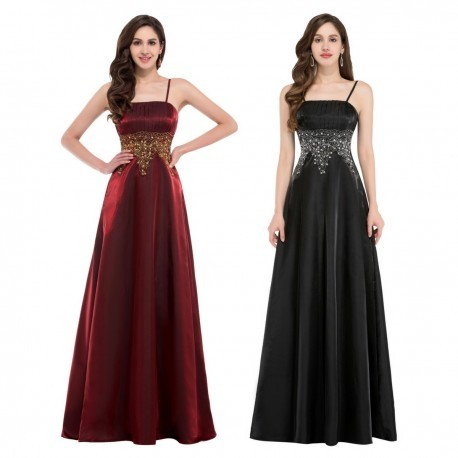 Satin Embroidered Waist Floor Length Evening Gown (2 Colors)