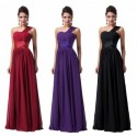 Chiffon One Shoulder Sweetheart Evening Gown (3 Colors)