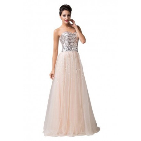 Sequined Sweetheart Embellished Tulle Evening Gown