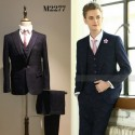 Korean Style Groom's Navy Blue 2 Piece Suit