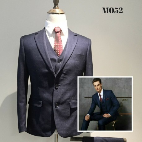 Korean Style Groom's Dark Blue Slim 5-Piece Suit